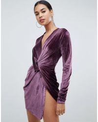 Club L - Twist Front Long Sleeve Velvet Dress - Lyst