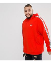 PUMA - Plus Pullover Hoodie With Sleeve Taping In Red Exclusive To Asos - Lyst
