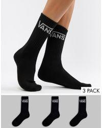 Vans - 3 Pack Black Crew Socks - Lyst