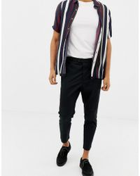 AllSaints - Kato Tapered Cropped Pants In Black - Lyst