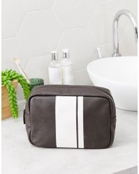 ASOS - Leather Wash Bag With Stripe Detail In Brown - Lyst