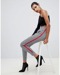 Boohoo - Check Cuffed Jogger With Side Stripe - Lyst