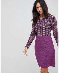 Traffic People - Textured 2-in-1 Dress In Mixed Print - Lyst