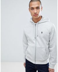 Polo Ralph Lauren - Player Logo Full Zip Hoodie In Grey Marl - Lyst