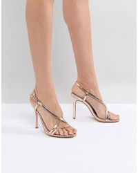 Dune - Strappy Rose Gold Heeled Sandal - Lyst