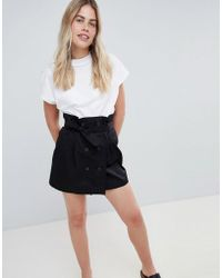 Bershka - Double Breasted Tie Waist Mini Skirt In Black - Lyst