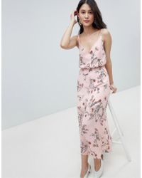 Oh My Love - Buttoned Cami Maxi Dress In Floral Print - Lyst