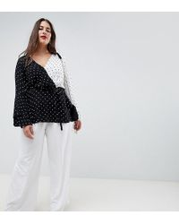 ASOS - Asos Design Curve Wide Leg Trousers With Deep Waistband - Lyst