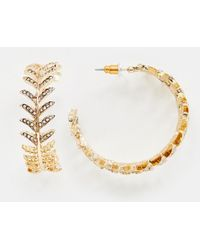 ASOS - Hoop Earrings With Pretty Jewel Design In Rose Gold - Lyst