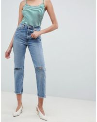 ASOS - Recycled Florence Authentic Straight Leg Jeans In Spring Light Stone Wash With Rips - Lyst