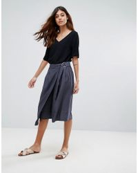 SELECTED | Junee Belted A-line Wrap Skirt | Lyst