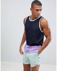 New Look - Colourblock Swim Shorts In Lilac - Lyst
