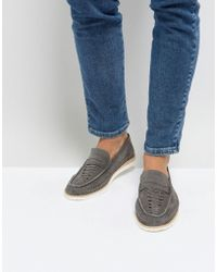 Frank Wright - Woven Penny Loafers In Grey - Lyst