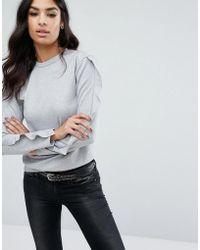 Boohoo - Frill Sleeve Sweatshirt - Lyst