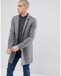 Only & Sons - Overcoat With Stand Up Collar - Lyst