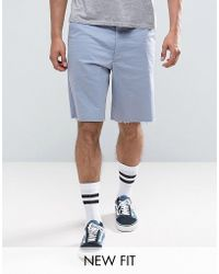 ASOS | Skater Shorts With Raw Edge In Pale Blue | Lyst