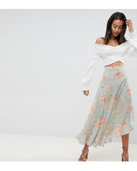 Missguided - Exclusive Tall Floral Ruffle Midi Skirt - Lyst