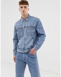 d9c1ca3671 Calvin Klein - Iconic Omega Denim Trucker Jacket In Mid Stone Wash - Lyst