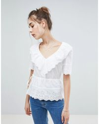 ASOS - Top In Broderie With V Neck - Lyst