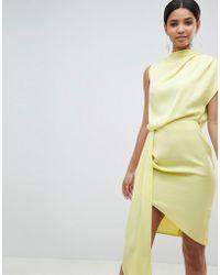 ASOS - Satin Drape Midi Dress With Sash Detail - Lyst
