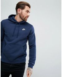 Nike - Pullover Hoodie With Swoosh Logo In Blue 804346-451 - Lyst