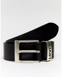 Levi's - Levi's Leather Belt With Logo Keeper Black - Lyst