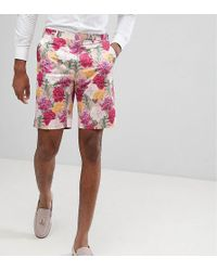 ASOS - Tall Wedding Skinny Smart Shorts In Pink Floral Print - Lyst
