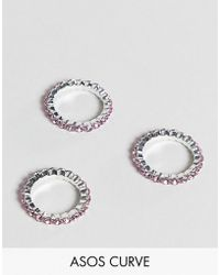 ASOS - Asos Design Curve Pack Of 3 Rings With Pastel Crystals In Silver - Lyst