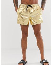 cb0f380fb7 ASOS Swim Shorts In Metallic Gold With Extreme Side Split in ...