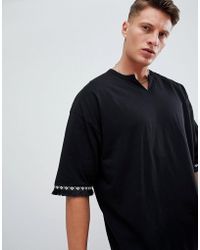 ASOS - Oversized Longline T-shirt With Notch Neck And Fringing - Lyst