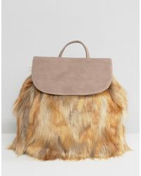 Glamorous - Backpack With Faux Fur Detail - Lyst