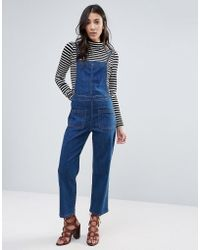 First & I - Kick Flare Dungarees - Lyst