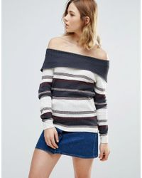 First & I - Stripe Bardot Sweater - Lyst
