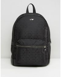 Armani Jeans - All Over Logo Backpack In Black - Lyst
