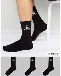 Le Coq Sportif - 3 Pack Crew Socks In Black 1520738 - Lyst