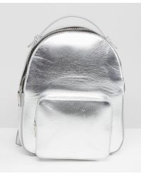 Mango - Metallic Backpack With Pocket Detail - Lyst