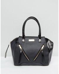 Lipsy - Black Double Zip Front Grab Bag - Lyst