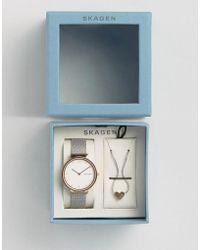Skagen - Ancher Mesh Watch & Heart Pendant Gift Set - Lyst