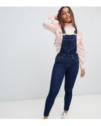 New Look - Skinny Fit Dungarees - Lyst