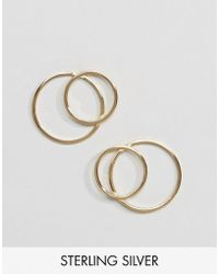 ASOS - Gold Plated Sterling Silver Open Circle Statement Stud Earrings - Lyst