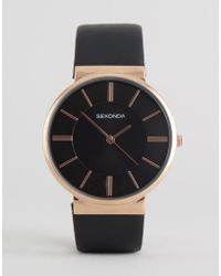 Sekonda - Black Leather Watch With Rose Gold Dial Exclusive To Asos - Lyst