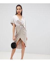 c3dd82c4a83e ASOS - Vestito midi in velluto con maniche a kimono asimmetriche - Lyst