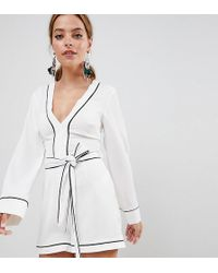 ec75d48535e Missguided Beatrina Contrast Tailored Playsuit in Powder Blue in ...