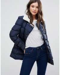Girls On Film - Padded Coat With Faux Shearling Trim - Lyst