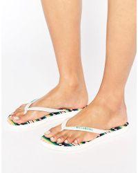 Billabong - Stripe Print Flip Flops - Lyst