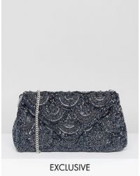 Amelia Rose - Tonal Beaded Embellished Clutch Bag - Lyst