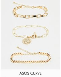 ASOS - Asos Design Curve Pack Of 3 Bracelets With Open Link And Box Chain And Worn Coin Charm In Gold Tone - Lyst