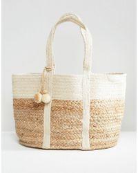 Mango Straw Beach Bag in Natural | Lyst