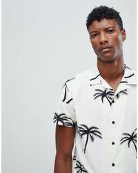 Jack & Jones - Originals Short Sleeve Shirt With Revere Collar In Palm Tree Print - Lyst