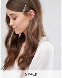Glamorous - 5 Pack Stone And Etched Hair Slide Set - Lyst
